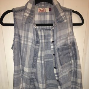 kohl's button up flannel tank top